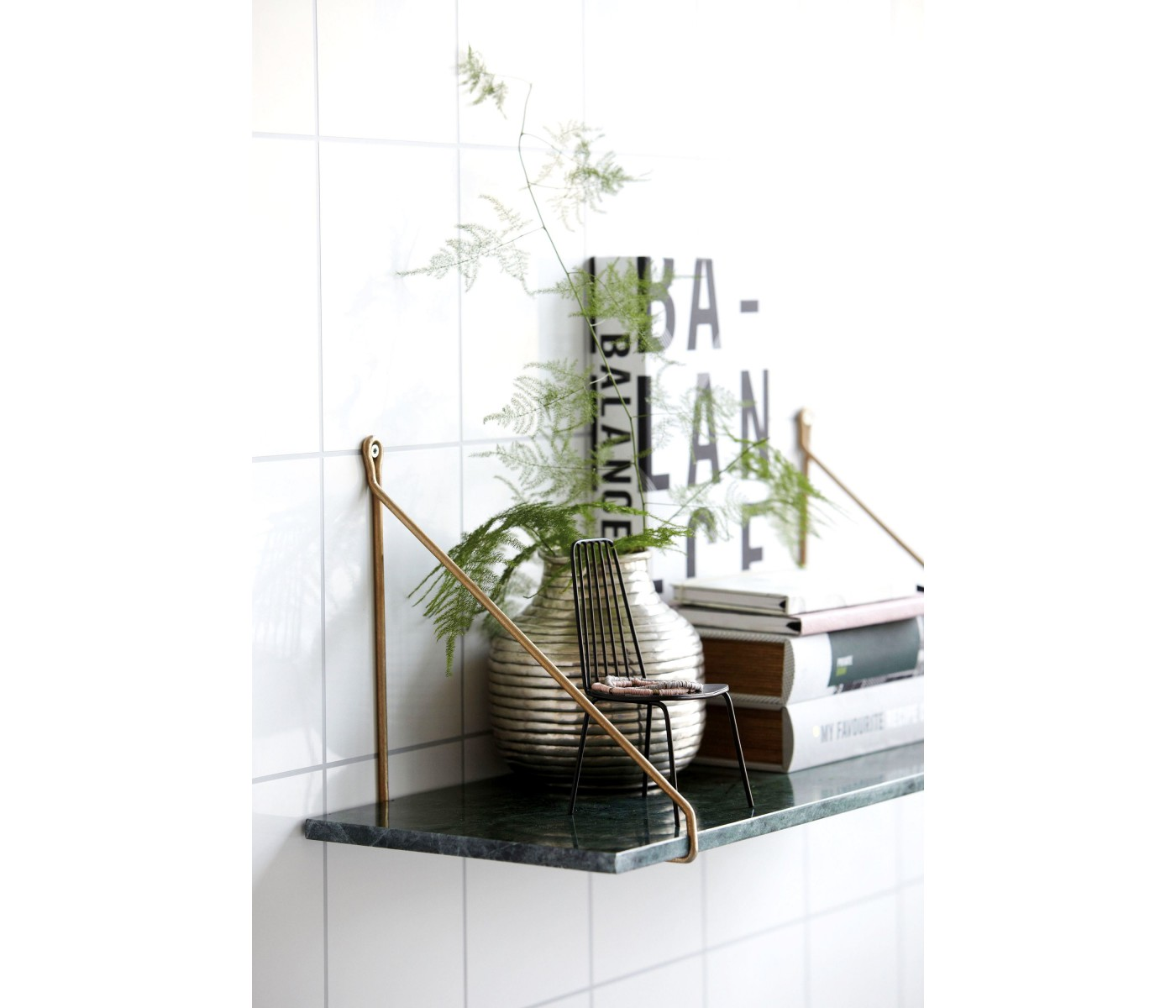 House Doctor Green Marble Shelf With Brass Brackets