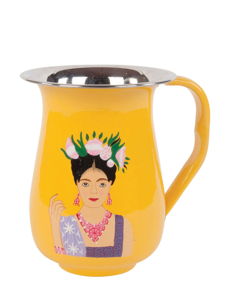 Yellow Hand-painted Frida Kahlo Stainless Steel Jug