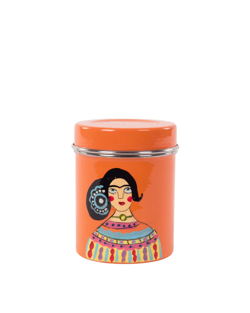 Orange Hand-painted Frida Kahlo Stainless Steel Canister