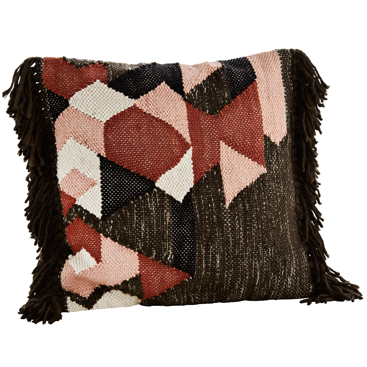 Madam Stoltz 50 x 50 cm Geometric Woven Fringed Cushion Cover