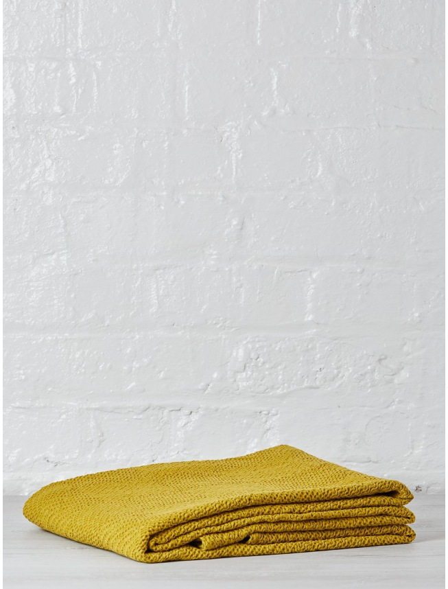 Vivaraise Badianne Mustard 100% Cotton Large Stonewash Ava Throw