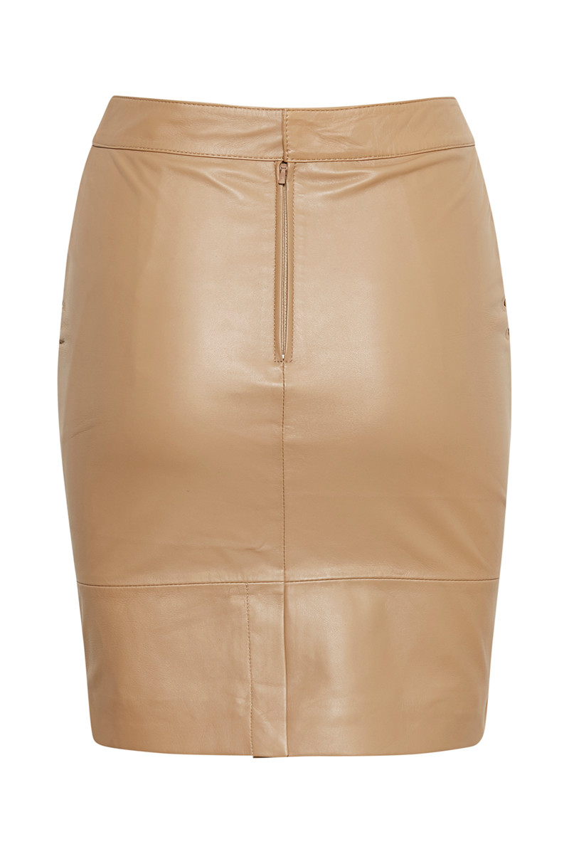 1b3c8dc58c Trouva: Beige Char Lamb Leather Mini Skirt