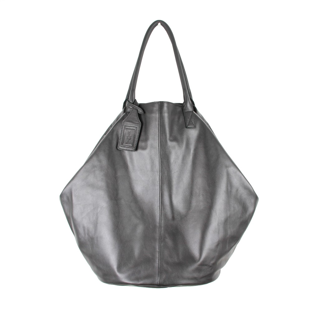 Urban Travel Black Nappa Leather Tuck Tote Bag