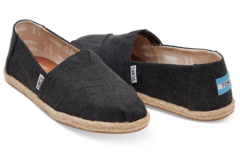 Black Washed Canvas Esparilles Womens Shoe