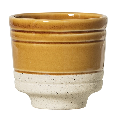 Bloomingville Retro Two Tone Dijon & White Speckled Stoneware Flower Pot