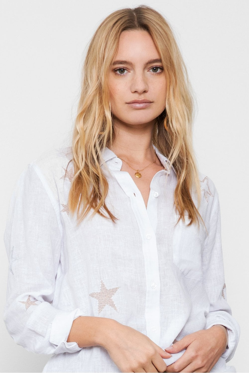 Rails Charli Shirt In Rose Gold Star Embroidery
