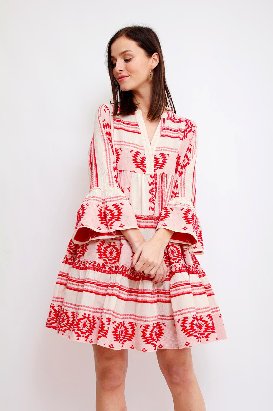 DEVOTION Red Devotion Aztek Ioli Embroidery Dress