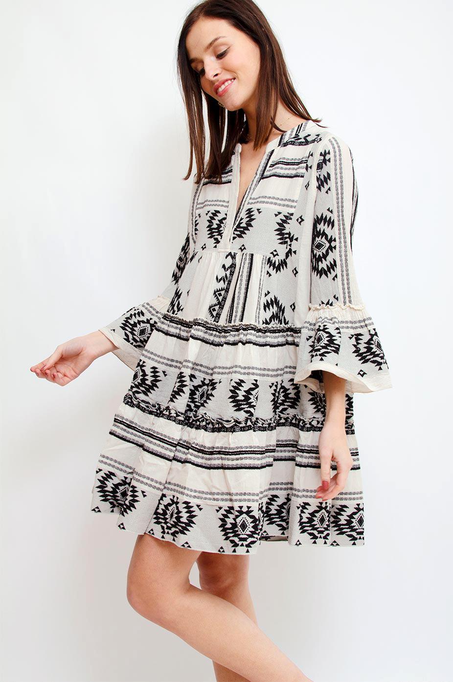 DEVOTION Black Devotion Aztek Ioli Embroidery Dress