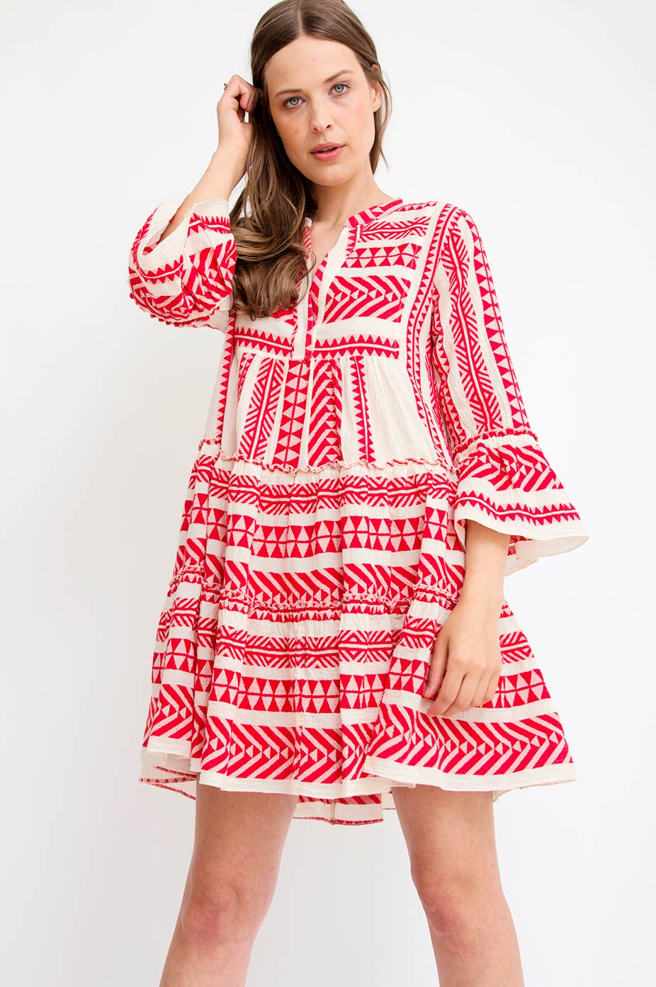 devotion red devotion zakar embroidery dress