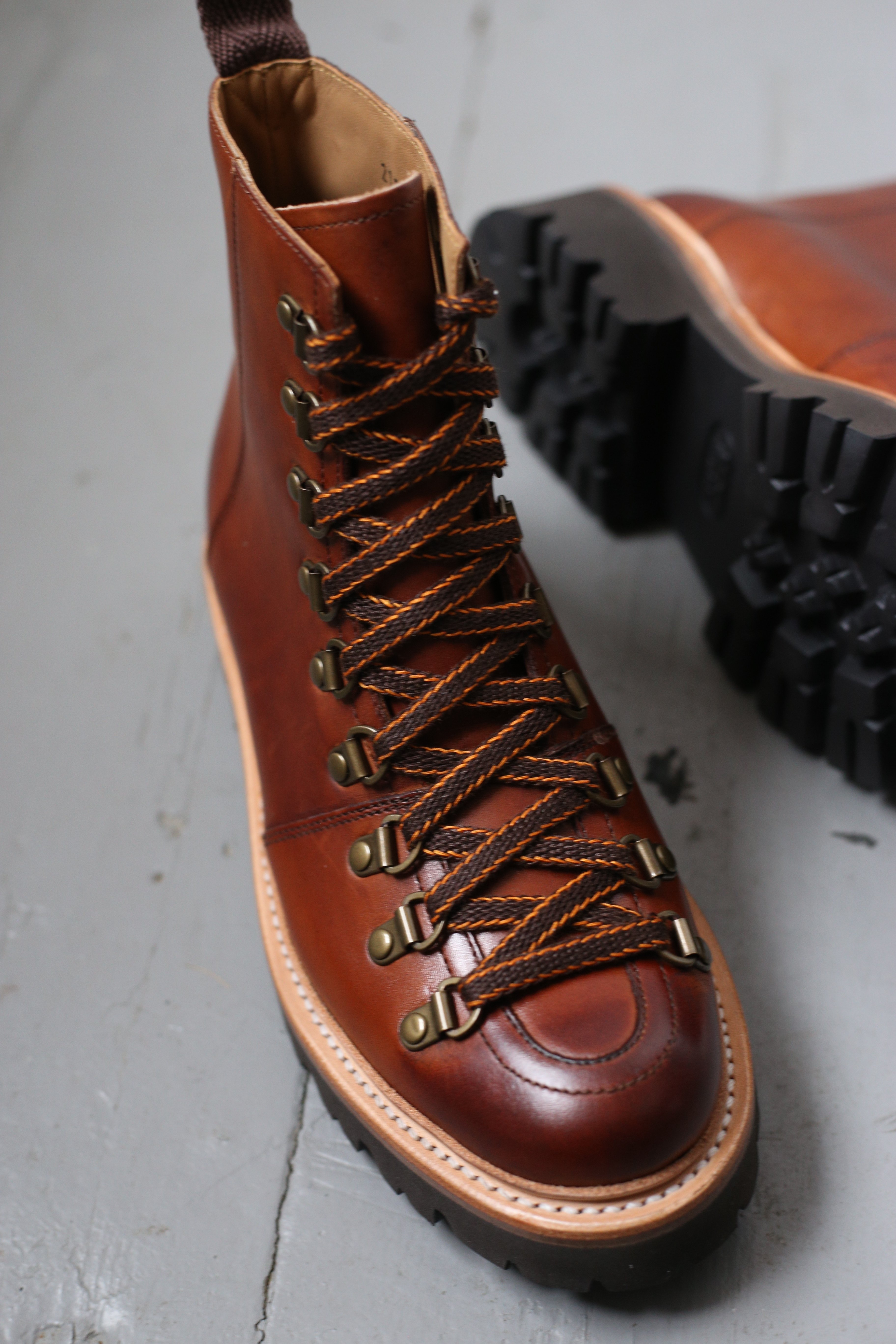 Grenson Nanette Hand Painted Tan Hiker Boots