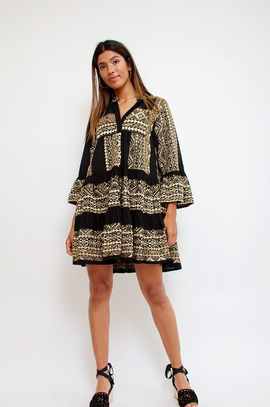 kori black gold embroidered greek cotton dress
