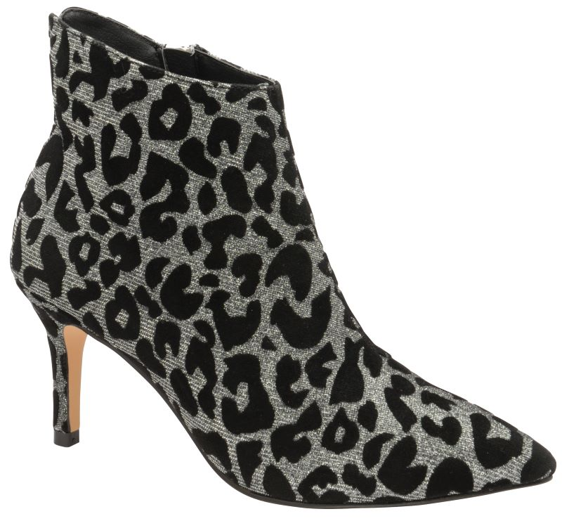 black ankle boots with leopard print heel