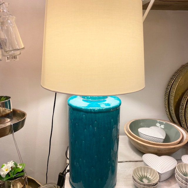 Trouva Tall Turquoise Ceramic Lamp, Turquoise Ceramic Lamp