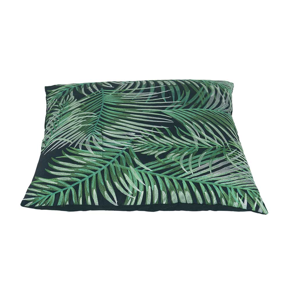 Bahne Green Palm Tree Print Cotton Cushion with Inner 50 x 50cm