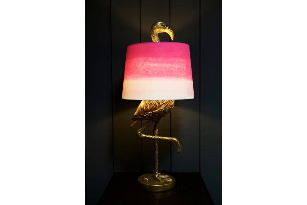 Sue Parkinson Home Collection Antique Gold Flamingo Table Lamp With Shade