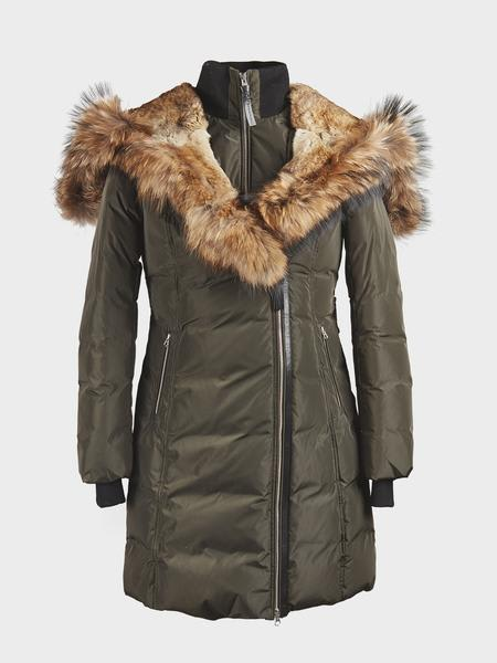 Mackage Green Army Trish Mid Length Down With Fur Jacket