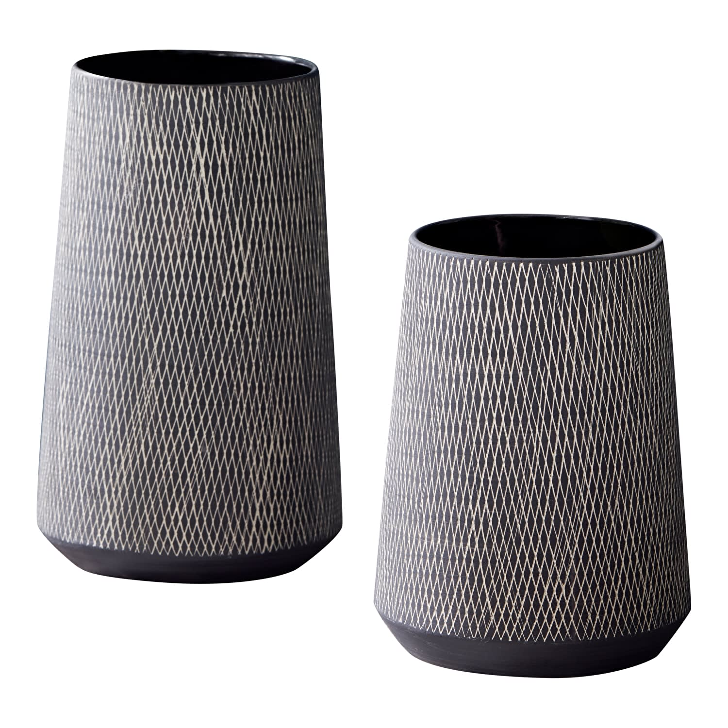 Small Black And White Etched Vases