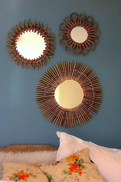 The Forest & Co. Vintage Style Rattan Sunburst Mirrors Set
