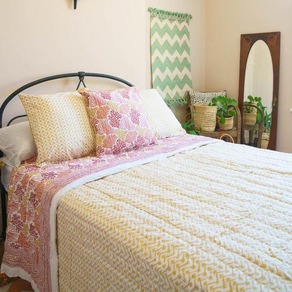 Artisans & Adventurers Large Queen Double Sized Coral Reef Indian Kantha Quilt