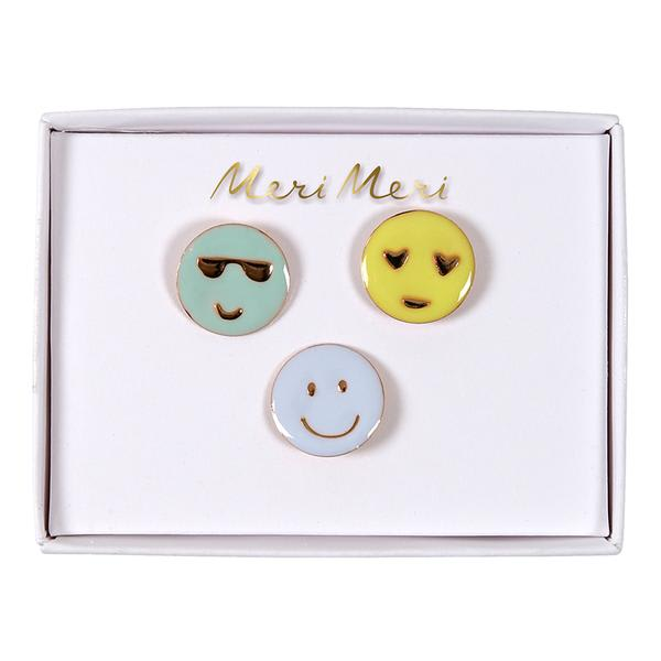 Meri Meri 3 Enamel Face Pins By
