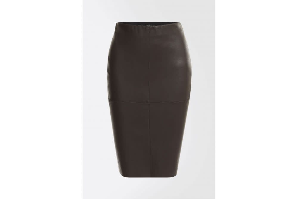 b63689113f Trouva: Salima Stretch Nappa Leather Skirt In Coffee