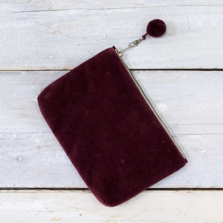 Also Home Lingonberry Lulea Cotton Velvet Pouch
