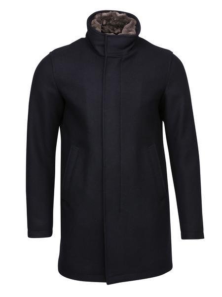 Herno Navy Overcoat With Beaver Trim