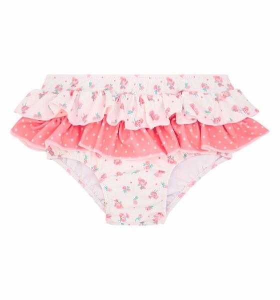 Sunuva White & Pink Baby Girl Frill Nappy Pant