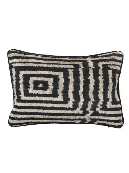 WolfWare Small Black & Beige Velvet Silk Triangle Pillow