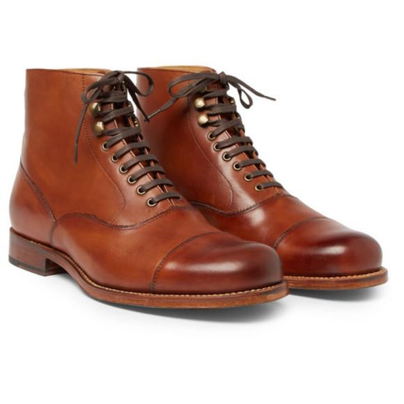 Grenson Tan Leander Cap Toe Burnished Leather Boots