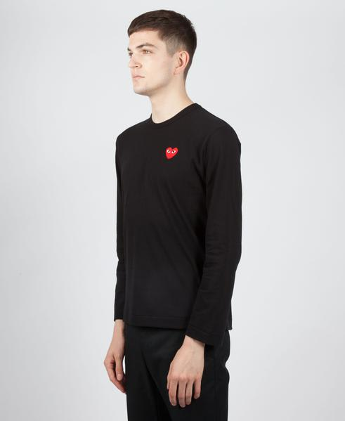 Comme Des Garcons Play Black PLAY Red Heart Logo Long Sleeve T-Shirt