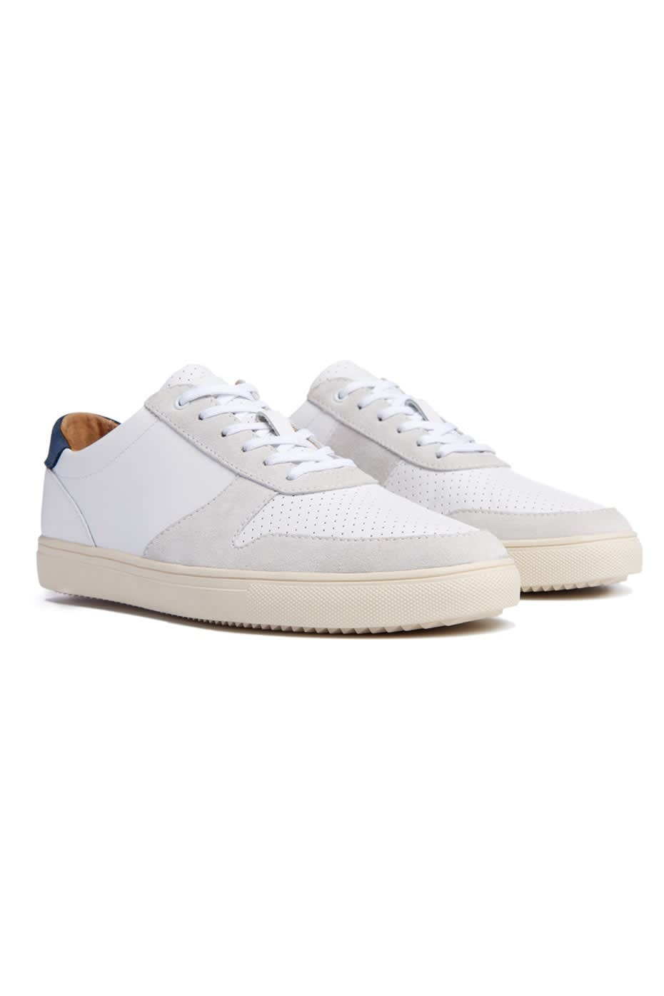Clae White Gregory Full Grain Leather Trainers