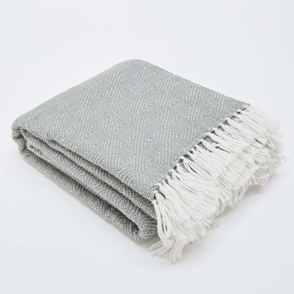 Weaver Green Grey Diamond Blanket Dove