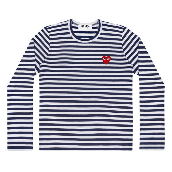 Comme Des Garcons Play White and Blue Striped PLAY Long Sleeve T-Shirt With Red Heart