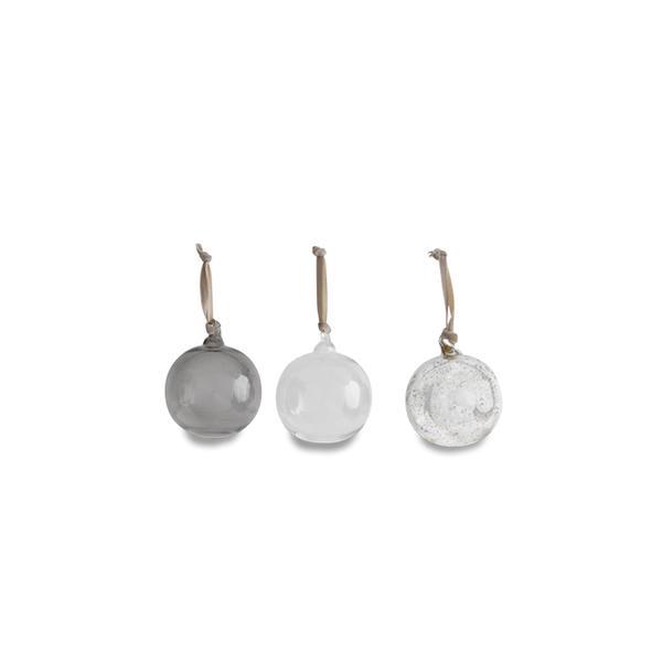 Nkuku Antique Silver Smoke Clear Round Set Of 3 Medium Tikari Glass Baubles