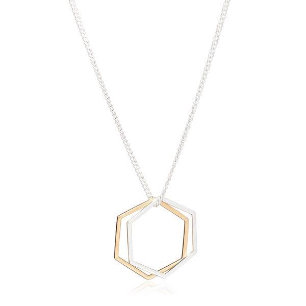 Rachel Jackson Gold And Silver Hexagon Rings Necklace