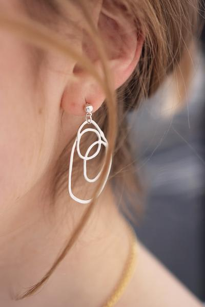 A Weathered Penny  Silver Layered Circles Earrings