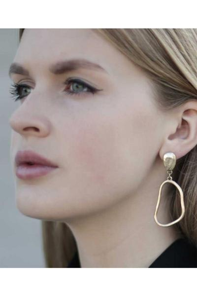 A Weathered Penny  Gold Oval Earrings