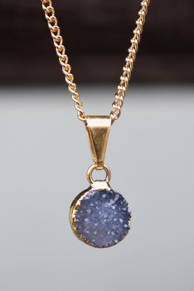 Decadorn  Drusy Mini Circle Pendant Necklace