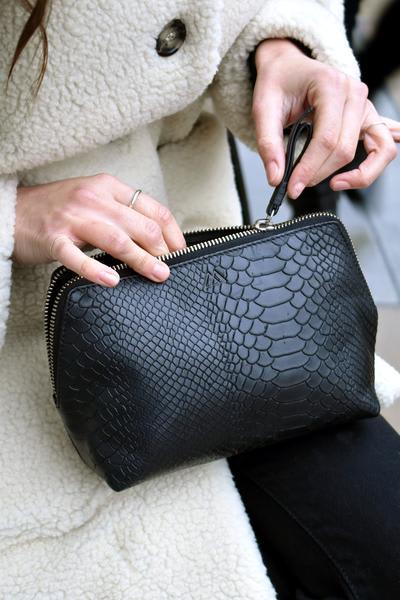 Markberg Black Aloma Snake Make Up Bag