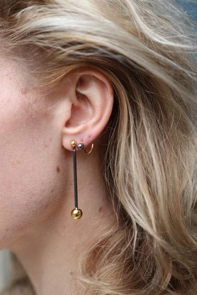 Maria Black Gold Black Orbit Earring