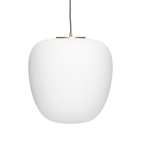 Hubsch White Glass And Brass Ceiling Pendant Light Lamp