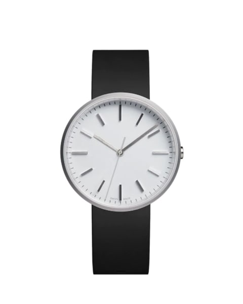 Uniform Wares Brushed Steel White With Black Rubber Strap M 37 Watch