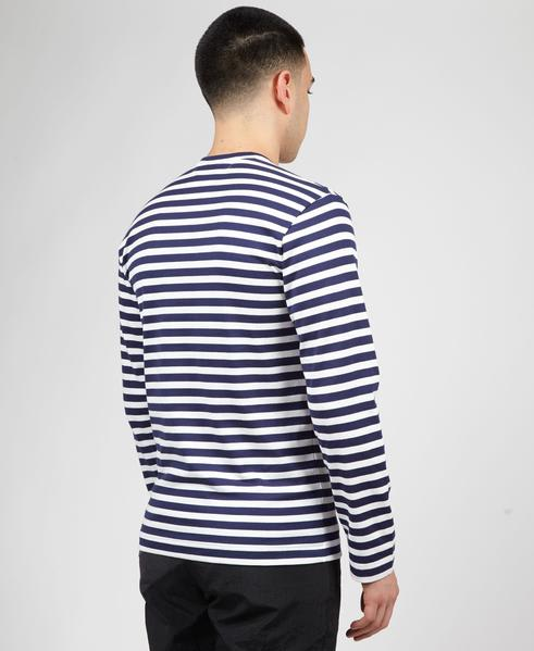 Comme Des Garcons Play Navy And White With Red Heart Play Striped Long Sleeve T Shirt