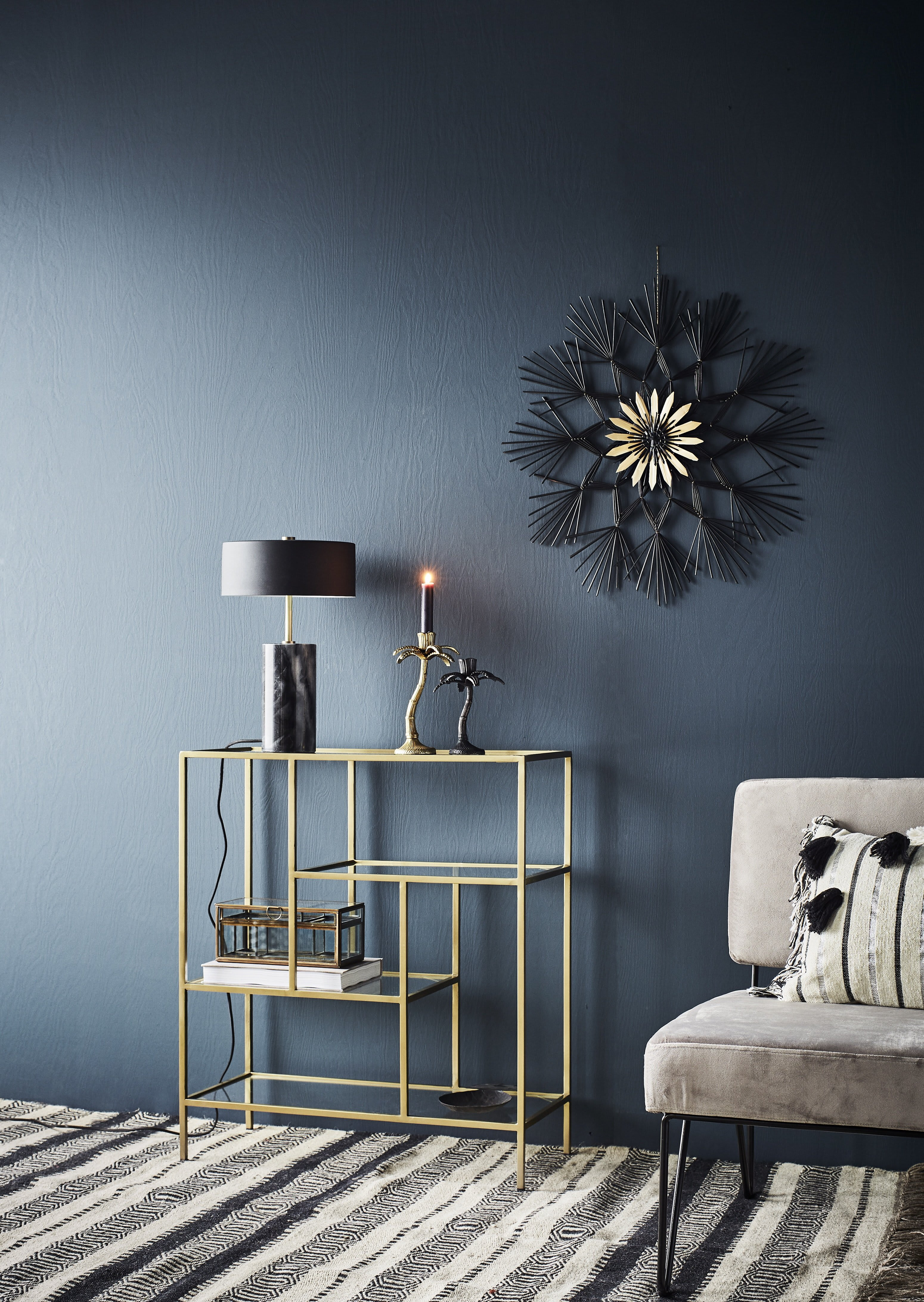 Madam Stoltz Marble And Brass Table Lamp