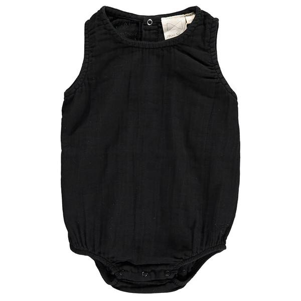 Mini Sibling Black Baby Sunsuit