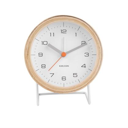 Present Time Karlsson Alarm Clock Wood With White Face