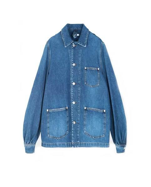 Ganni Blue Washed Denim Shirt