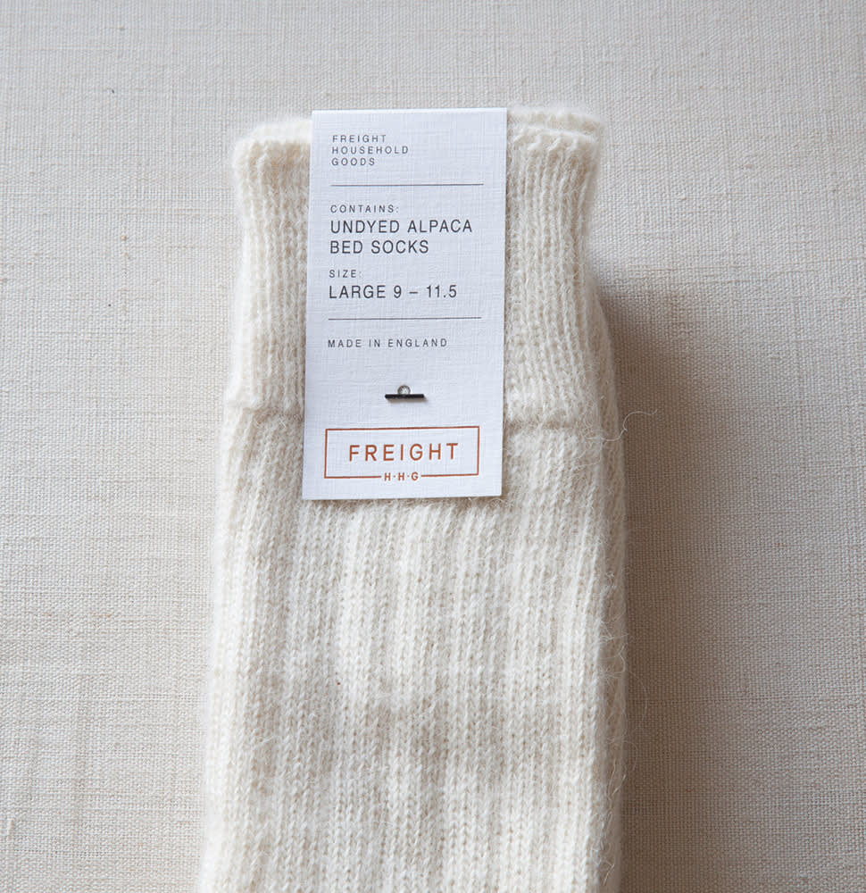 Freight HHG  Alpaca Bed Socks in Cream Grey and Brown