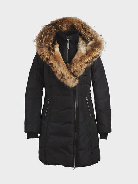 Mackage Black Trish Mid Length Down With Fur Jacket
